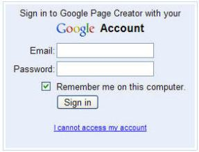 Sign In Google Pages