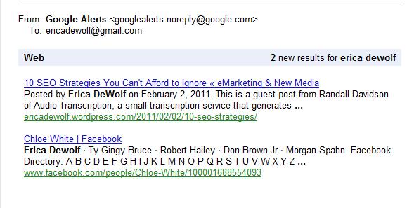 Using Google Alerts